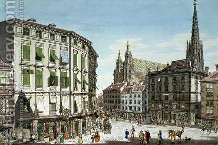Stock-im-Eisen-Platz, with St. Stephans Cathedral in the background, engraved by the artist, 1779 by (after) Schutz, Karl von - Reproduction Oil Painting