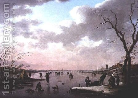 Winter Scene, Figures on the Ice by Hendrik Willem Schweickardt - Reproduction Oil Painting