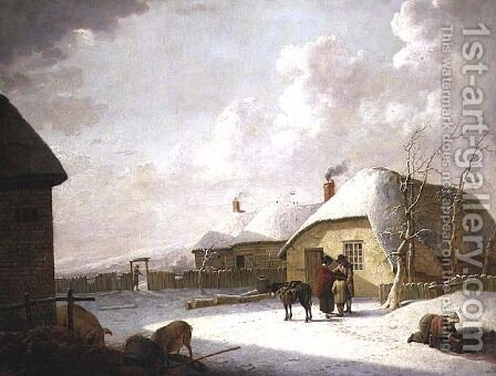 Figures Outside a Cottage in the Snow by Hendrik Willem Schweickardt - Reproduction Oil Painting
