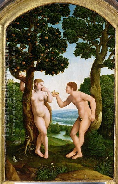 Adam and Eve in Paradise by Jan Van Scorel - Reproduction Oil Painting