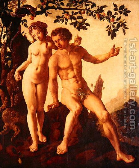 Adam and Eve by Jan Van Scorel - Reproduction Oil Painting