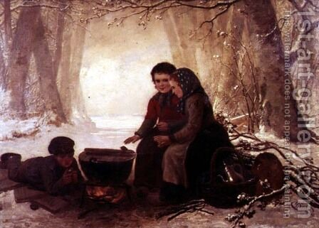 A Cold Winters Day by Henri van Seben - Reproduction Oil Painting