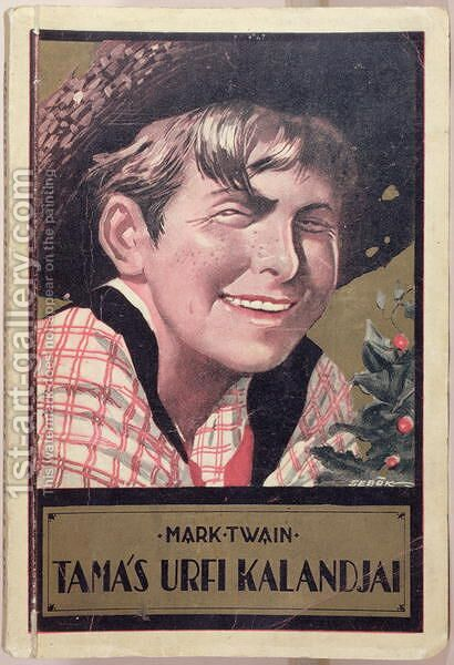 Book cover of a Hungarian translation of Tom Sawyer by Mark Twain 1835-1910, c.1920-30 by Imre Sebok - Reproduction Oil Painting