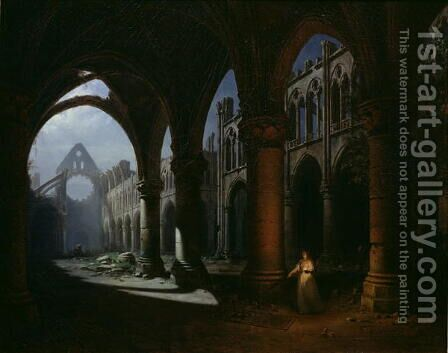 Interior of an Abbey in Ruins, 1848 by Hyppolyte Victor Valentin Sebron - Reproduction Oil Painting