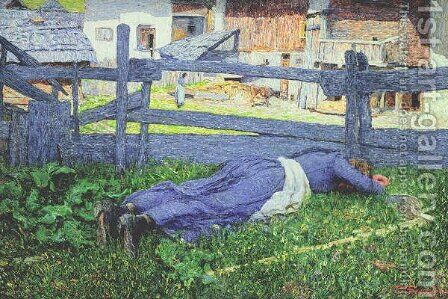 Rest in the Shade by Giovanni Segantini - Reproduction Oil Painting