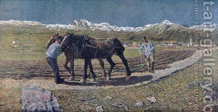 Peasants ploughing a field in the north of Italy, illustration from the magazine Allemand Jugend. 1879 by Giovanni Segantini - Reproduction Oil Painting