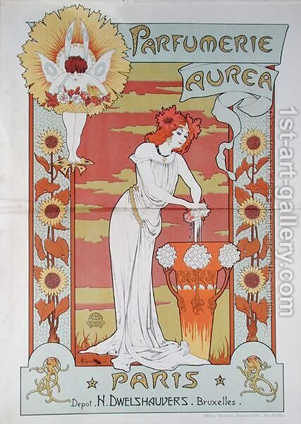Poster advertising Aurea perfume shop, Paris-Bruxelles, c.1900 by Armand Jean-Baptiste Segaud - Reproduction Oil Painting