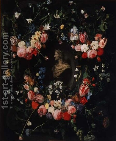 Garland of flowers surrounding a marble bust of Archduke Leopold Guglielmo, c.1647 by Daniel Seghers - Reproduction Oil Painting