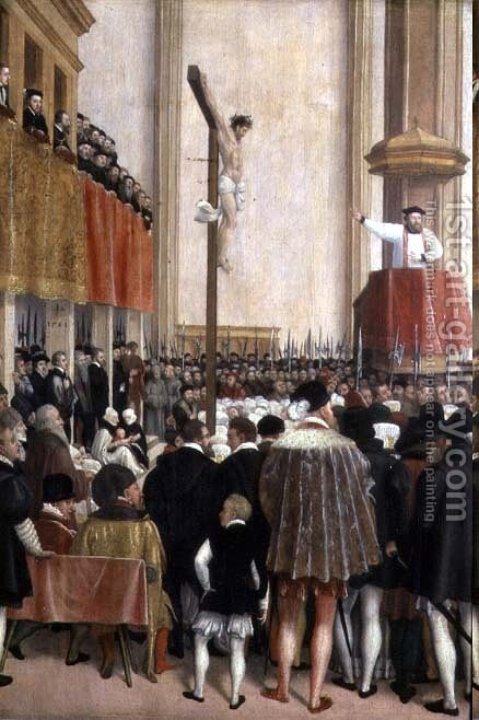 Sermon of the Papal Legate, Cornelius Musso 1511-74, in the Augustinerkirche, Vienna on 1561 by Jacob Seisenegger - Reproduction Oil Painting