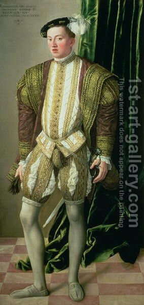 Archduke Ferdinand of Tirol 1529-95, son of the Holy Roman Emperor Ferdinand I 1503-64, 1548 by Jacob Seisenegger - Reproduction Oil Painting