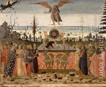 Triumph of Time, inspired by Triumphs by Petrarch 1304-74 by Jacopo Del Sellaio - Reproduction Oil Painting