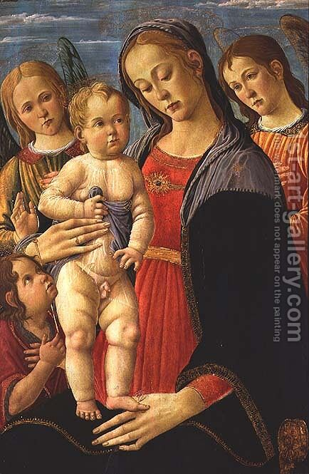 Madonna and Child with the Infant Saint John the Baptist and Angels by Jacopo Del Sellaio - Reproduction Oil Painting