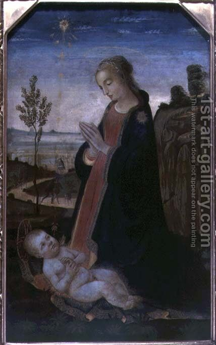 Madonna and Child in a Landscape by Jacopo Del Sellaio - Reproduction Oil Painting