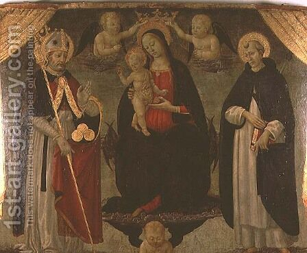 Madonna flanked by St. Nicholas and St. Peter Martyr by Jacopo Del Sellaio - Reproduction Oil Painting