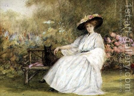 Lady and her Dog at Corsham Court, c.1914 by Charles A. Sellar - Reproduction Oil Painting