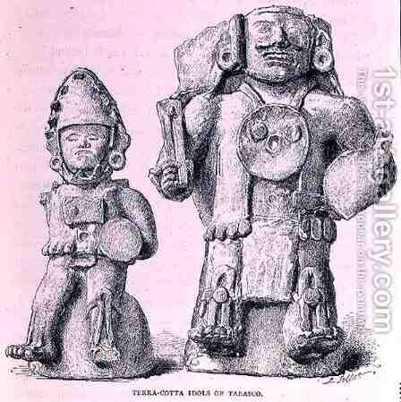 Terracotta Idols of Tabasco, from The Ancient Cities of New Mexico, by Claude-Joseph-Desire Charnay, pub. 1887 by (after) Sellier, P. - Reproduction Oil Painting