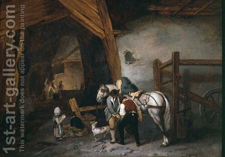 At the Blacksmiths by Jacques Albert Senave - Reproduction Oil Painting