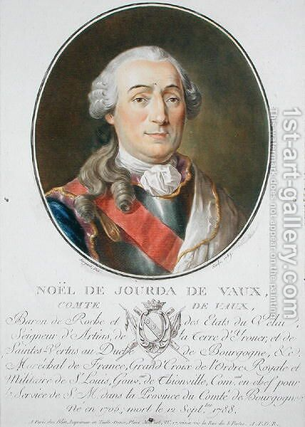 Noel de Jourda de Vaux 1705-88 1789, from Portraits des grands hommes, femmes illustres, et sujets memorables de France, published 1787-92 by Antoine Louis Francois Sergent-Marceau - Reproduction Oil Painting