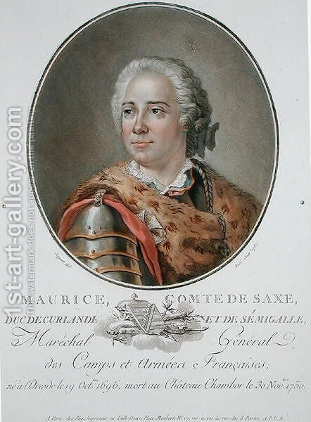 Maurice 1696-1750 Count of Saxony, 1787, from Portraits des grands hommes, femmes illustres, et sujets memorables de France, engraved by Ride, published 1787-92 by Antoine Louis Francois Sergent-Marceau - Reproduction Oil Painting