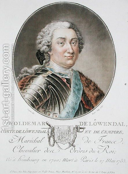 Woldemar de Lowendal 1700-55 1787, from Portraits des grands hommes, femmes illustres, et sujets memorables de France, engraved by Roger, published 1787-92 by Antoine Louis Francois Sergent-Marceau - Reproduction Oil Painting