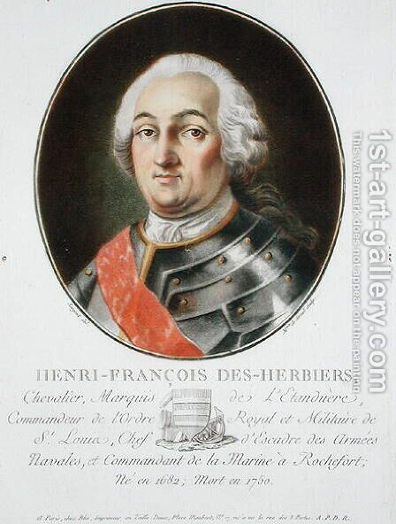 Henri-Francois des Herbiers 1682-1750 Marquis de lEstandiere, from Portraits des grands hommes, femmes illustres, et sujets memorables de France, engraved by Mme de Sernel, published 1787-92 by Antoine Louis Francois Sergent-Marceau - Reproduction Oil Painting