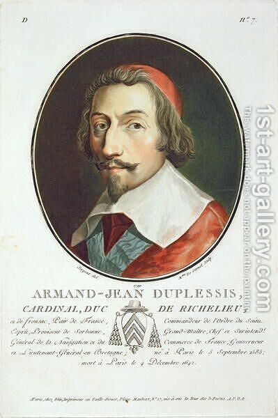 Armand Jean Duplessis, Cardinal, Duc de Richelieu 1585-1642 from Portraits des grands hommes, femmes illustres, et sujets memorables de France, engraved by Mme de Cernel, published 1787-92 by Antoine Louis Francois Sergent-Marceau - Reproduction Oil Painting