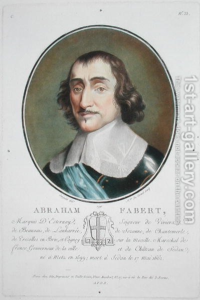 Abraham de Fabert 1599-1662 from Portraits des grands hommes, femmes illustres, et sujets memorables de France, engraved by Mme de Cernel, published 1787-92 by Antoine Louis Francois Sergent-Marceau - Reproduction Oil Painting