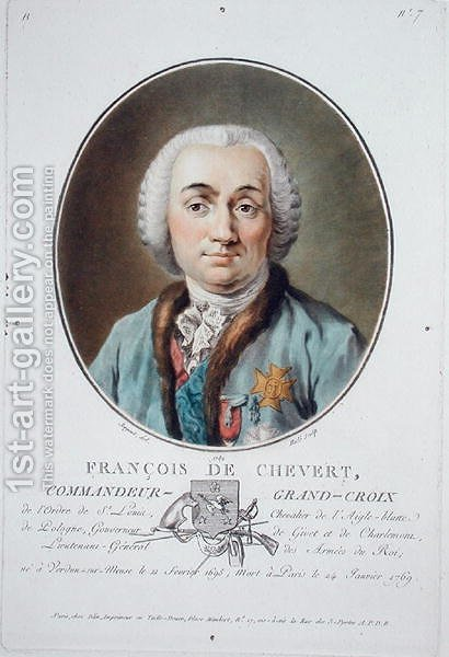 Francois de Chevert 1695-1769 from Portraits des grands hommes, femmes illustres, et sujets memorables de France, engraved by Ride, published 1787-92 by Antoine Louis Francois Sergent-Marceau - Reproduction Oil Painting