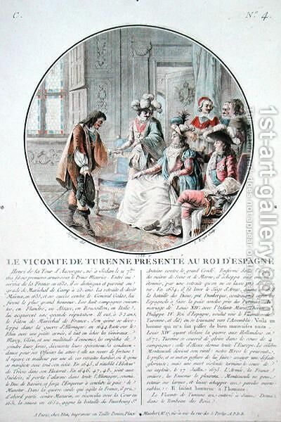 The Viscount of Turenne 1611-75 is presented to King Philip IV 1605-65 of Spain, engraved by L. Roger, 1786 by Antoine Louis Francois Sergent-Marceau - Reproduction Oil Painting