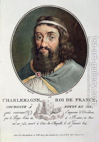 Charlemagne 747-814, King of France, engraved by Ride, 1789 by Antoine Louis Francois Sergent-Marceau - Reproduction Oil Painting