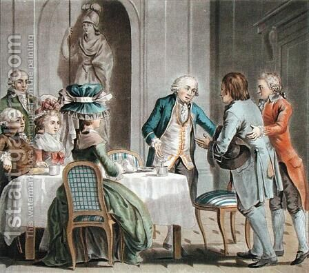 The Comte de Vaux 1705-88 offers food and drink to a farmer, engraved by Jean Baptiste Morret fl.1790-1820, 1789 by Antoine Louis Francois Sergent-Marceau - Reproduction Oil Painting