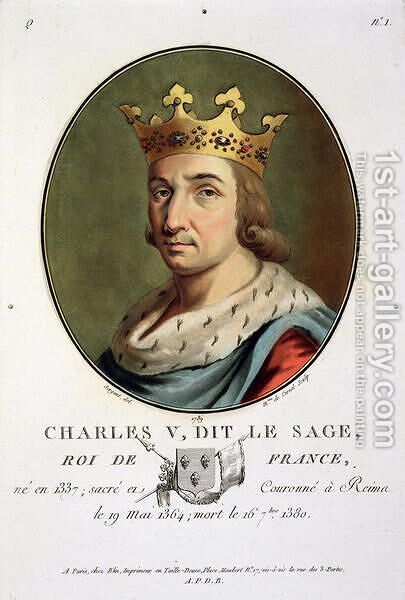 Portrait of Charles V, Called The Wise King of France 1337-80 engraved by Madame de Cernel, 1789 by Antoine Louis Francois Sergent-Marceau - Reproduction Oil Painting
