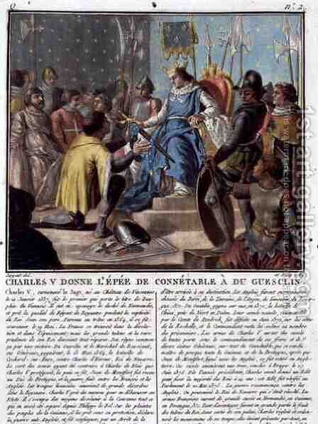 Charles V 1337-80 Presents the Epee of the High Constable to Du Guesclin c.1320-80, 1789 by Antoine Louis Francois Sergent-Marceau - Reproduction Oil Painting