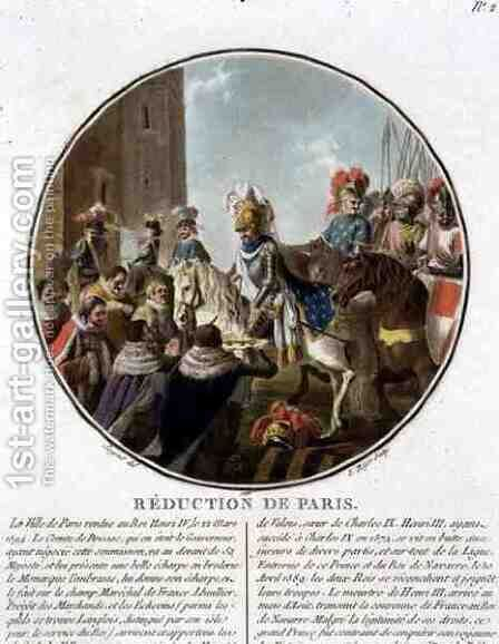 The Capture of Paris in 1594, engraved by Louis Roger, 1786 by Antoine Louis Francois Sergent-Marceau - Reproduction Oil Painting