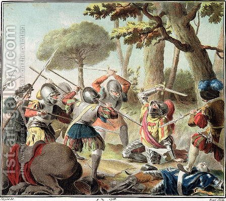 Gaston de Foix 1488-1512 Slain at the Battle of Ravenna, engraved by Roger, 1788 by Antoine Louis Francois Sergent-Marceau - Reproduction Oil Painting
