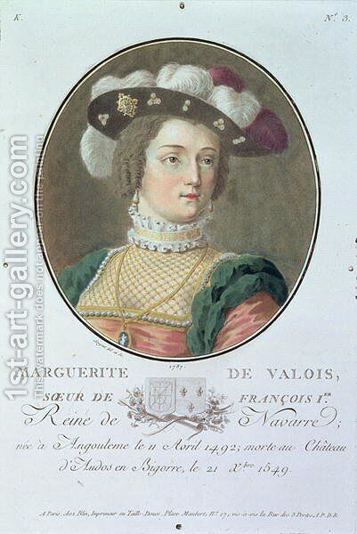 Portrait of Marguerite de Valois 1492-1549, 1787 by Antoine Louis Francois Sergent-Marceau - Reproduction Oil Painting
