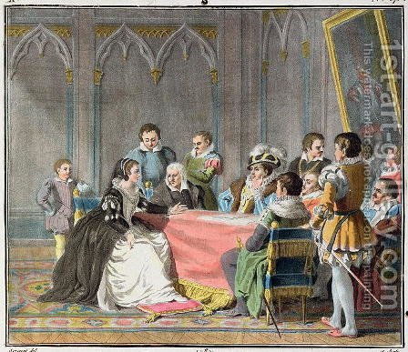 Marguerite de Valois 1492-1549 in front of the Spanish Inquisition, 1787 by Antoine Louis Francois Sergent-Marceau - Reproduction Oil Painting