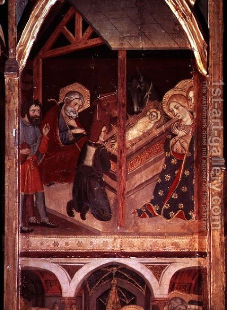 The Adoration of the Shepherds, panel from the altarpiece of Sigena, 1375 by Hermanos Serra - Reproduction Oil Painting