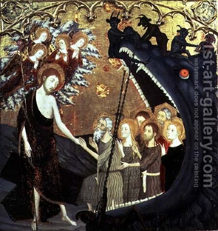 Panel of the Descent into Limbo, from the altarpiece of the convent of Santo Sepulchro, Zaragoza by Jaume Serra - Reproduction Oil Painting