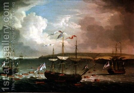 Taking of Belleisle, 1761 by Dominic Serres - Reproduction Oil Painting