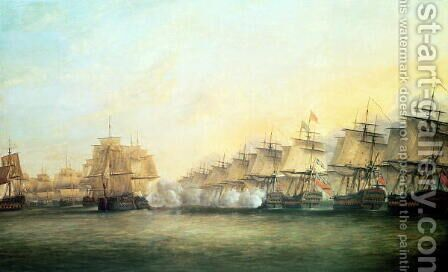The fourth action off Trincomalee between the English under Admiral Sir Edward Hughes c.1720-94 and the French under M. de Suffren, 1782 by Dominic Serres - Reproduction Oil Painting