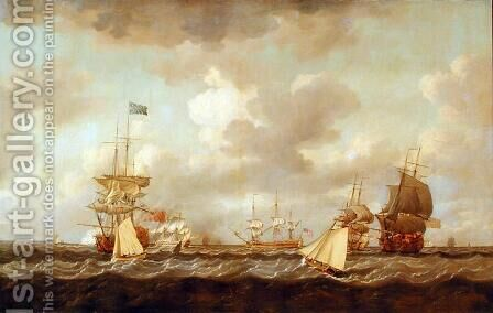 English Ships Coming to Anchor in a Fresh Breeze by Dominic Serres - Reproduction Oil Painting