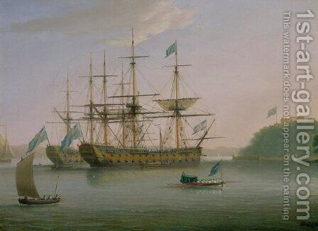 Two British Men of War moored under Mount Edgecomb, Plymouth with the admirals barge returning to shore by Dominic Serres - Reproduction Oil Painting