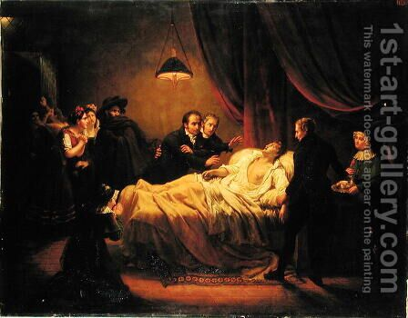 The Death of Mazet, 1821 by Henri Auguste Calixte Cesar Serrur - Reproduction Oil Painting