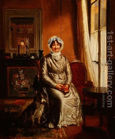 A lady with a dog in an interior by Henri Auguste Calixte Cesar Serrur - Reproduction Oil Painting