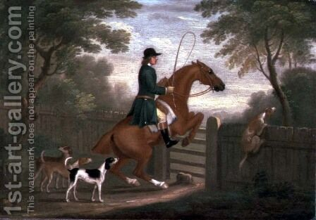 Huntsman with his Hounds in a Landscape by James Seymour - Reproduction Oil Painting