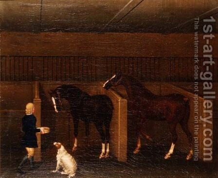 A groom, horses and a dog in a stable, 1747 by James Seymour - Reproduction Oil Painting