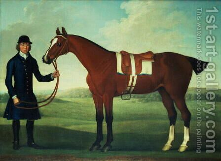 A Bay Hunter Held by a Groom by James Seymour - Reproduction Oil Painting