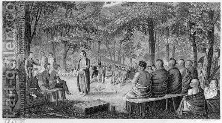 Major Long Holding a Council with the Oto Missouri Indians, engraved by Lawson, 1819 by (after) Seymour, Samuel - Reproduction Oil Painting