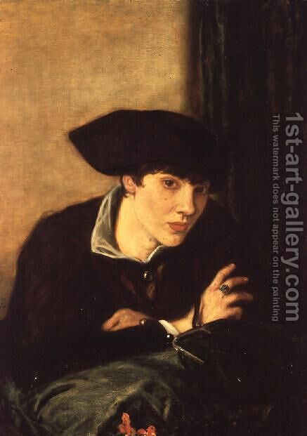 The Lady in a Black Hat, portrait of Miss Rachel Castellan, 1915 by Charles Haslewood Shannon - Reproduction Oil Painting